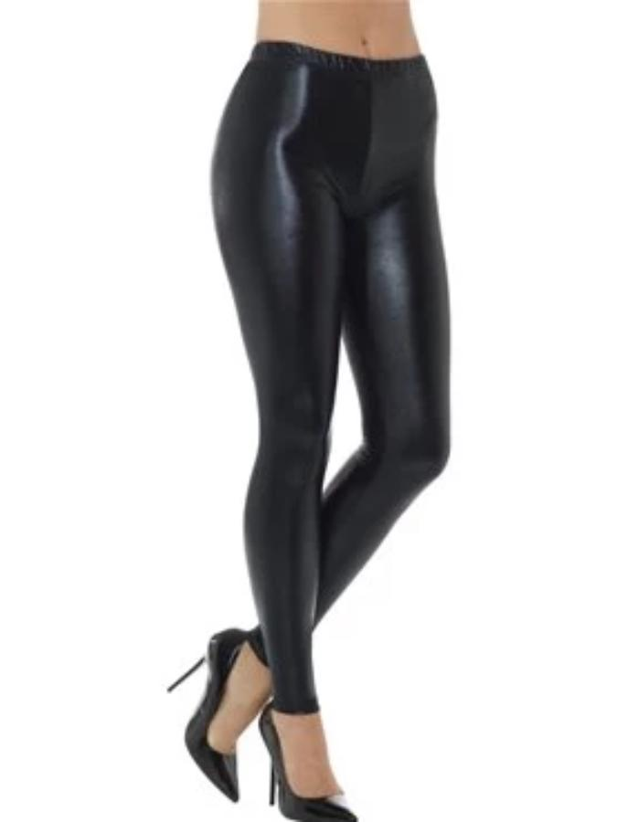 80's Black Metallic Disco Leggings