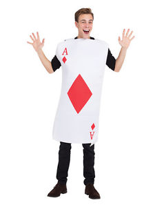 Adults Queen of Hearts Fancy Dress Giant Playing Card Costume Tabard Alice Red