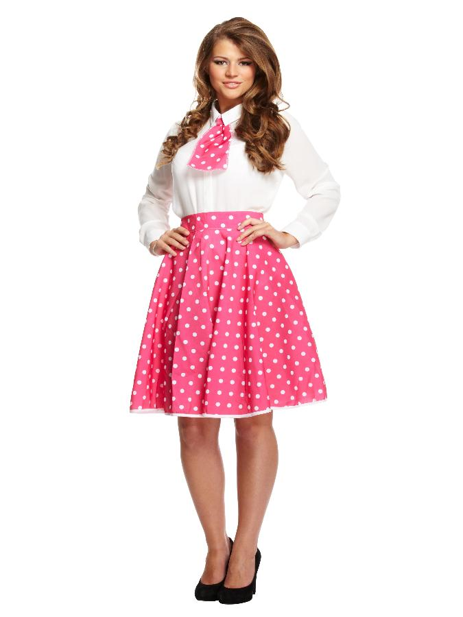 Adult Polka Dot Skirt with necktie Pink