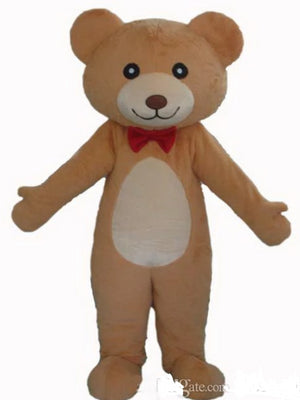 Adult red tie teddy bear costume teddy bear mascot costume