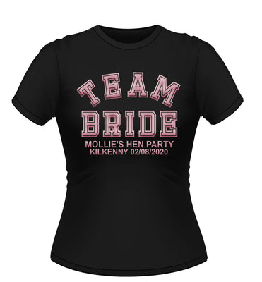 'TEAM BRIDE' Personalised Hen Party T-shirt