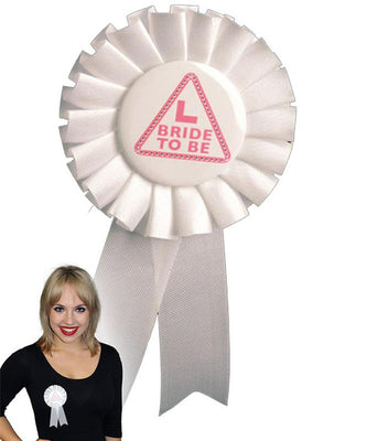 Bride to Be Miss Behave White Rosette
