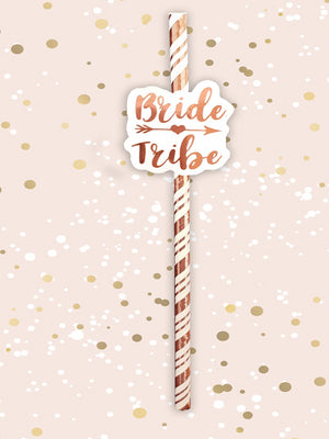 6 pack Bride Tribe Rose Gold Straws