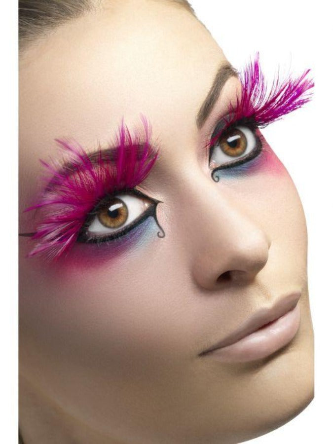 Eyelashes, Pink, with Feather Plumes 24254