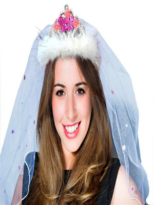 Hen Night Flashing Bride To Be Tiara And Veil