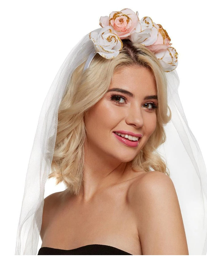 Floral Headband, White & Pink, with Veil