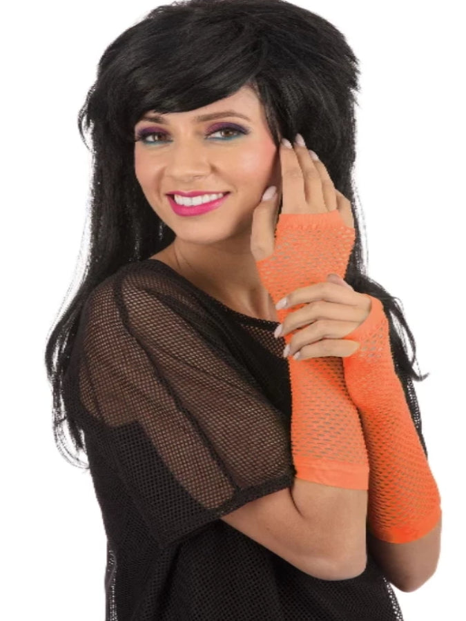Gloves Fingerless Fishnet Orange