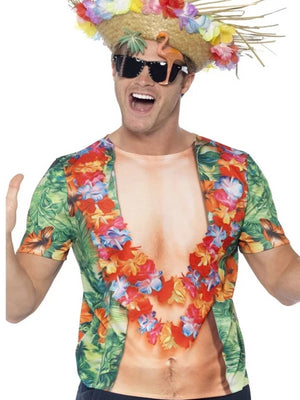 Hawaiian T-shirt With Muscle Chest Effect