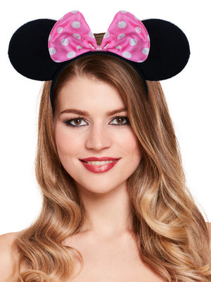 Pink Headband Mouse Ears With pink Bow