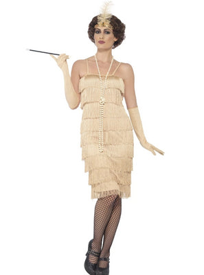 Ladies Gold Fringed Flapper 1920s Costume