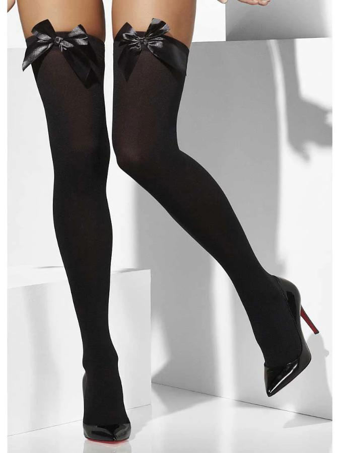 Opaque Hold-Ups, Black, with Bows