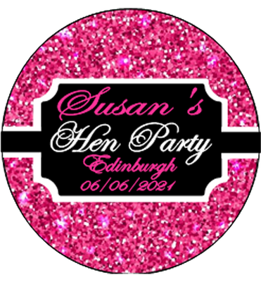 Pink Sparkle Personalised Hen Party Badge