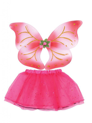 Kids Pink Fairy Wings And Tutu Set