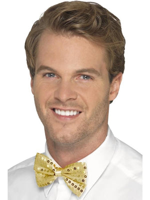 Sequin Bow Tie, Gold