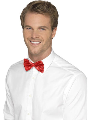 Sequin Bow Tie, Red