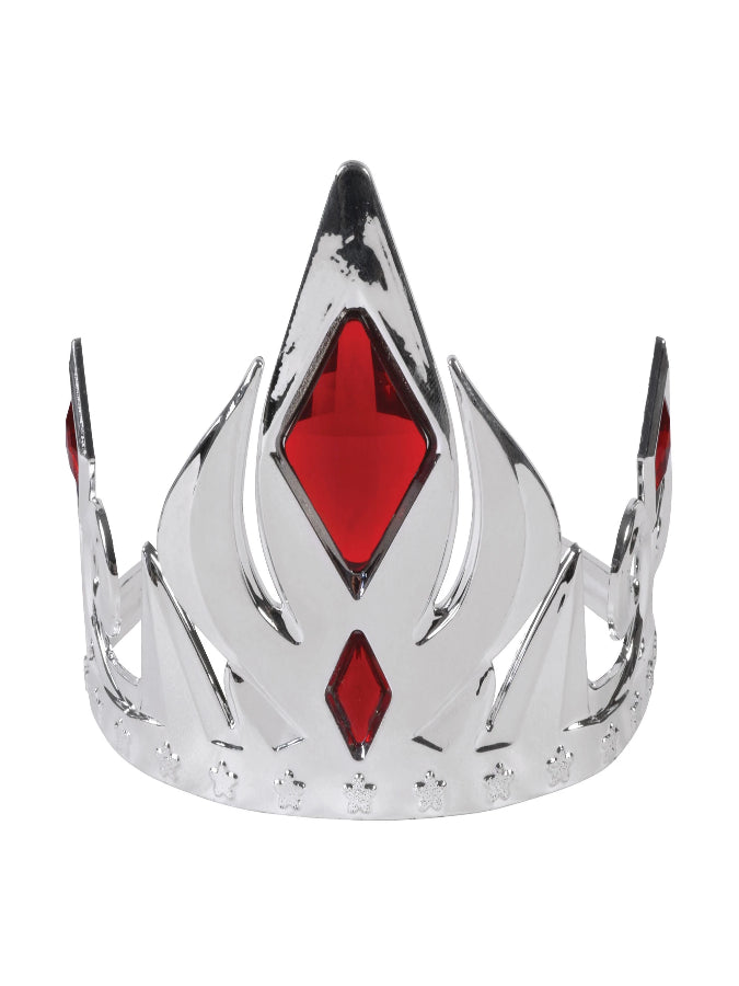 Silver Crown Tiara with Red Stones