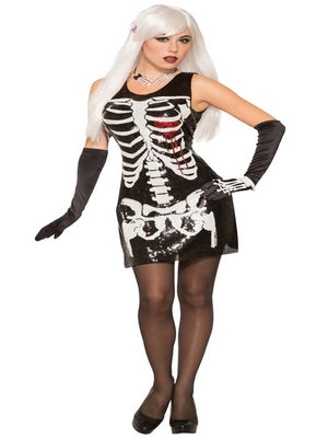 Skeleton Bleeding Heart Sequin Dress