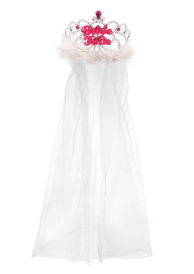 Tiara Bride To Be With fur 12.5cm & White Veil