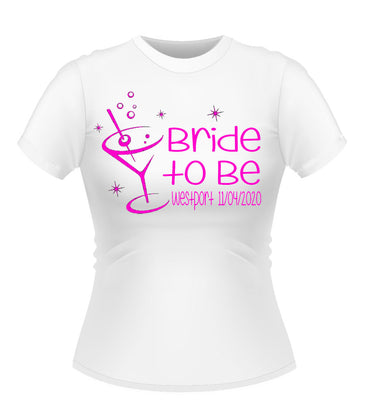 Bride to Be 'Martini' Glass Personalised Hen Party Tshirt