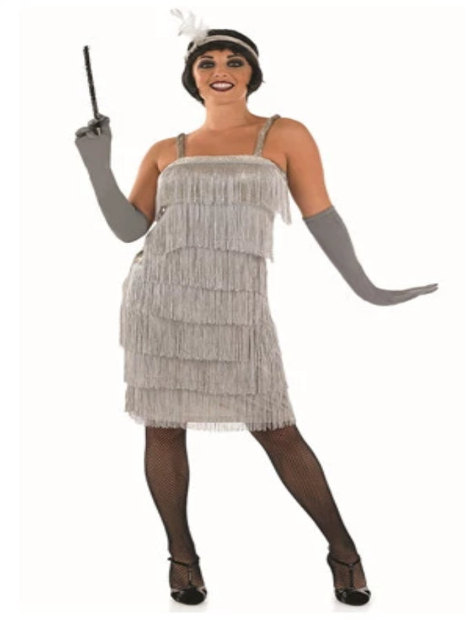 Adult 20's Roaring Silver Flapper Costume