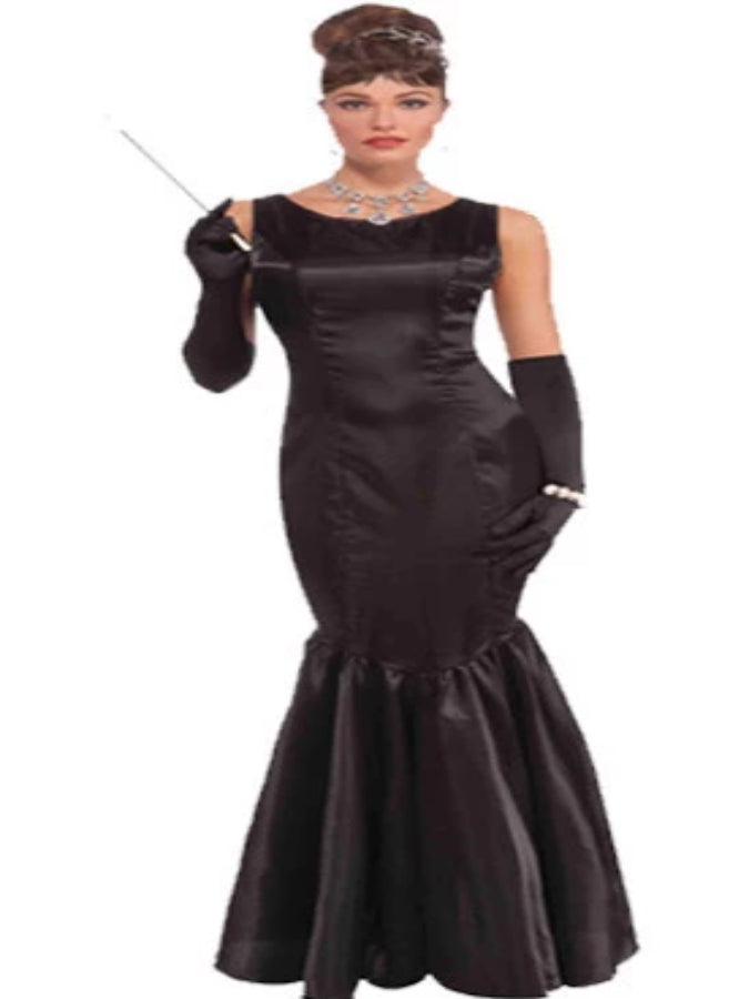 Adult High Society Long Black Dress Costume