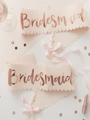 Pink And Rose Gold Hen Party Bridesmaid Sashes - 2 Pack