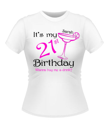 Personalised Birthday T-Shirt With Cocktail glass design
