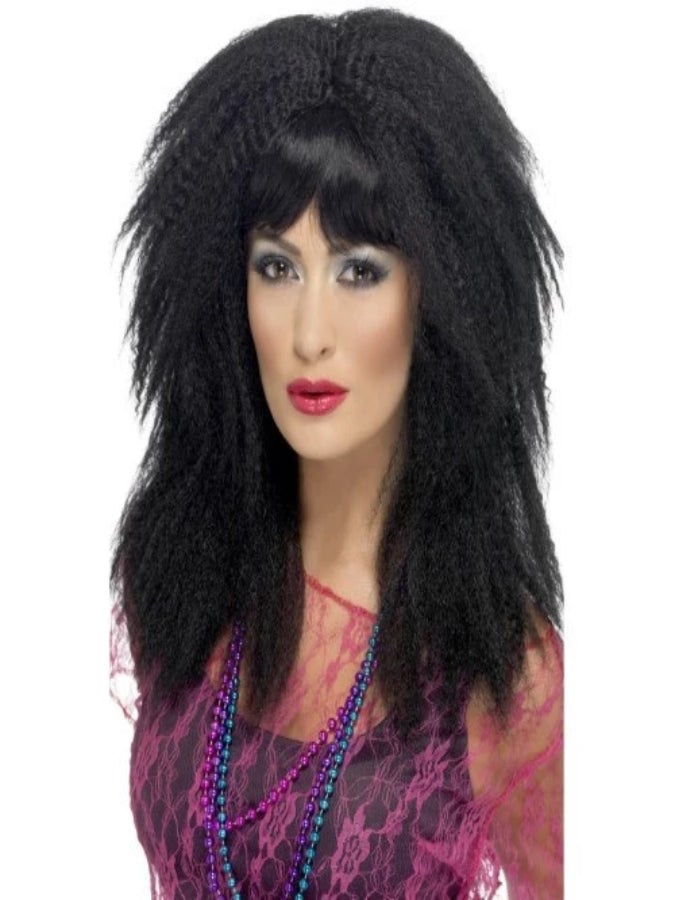 BLACK 80S TRADEMARK CRIMP WIG
