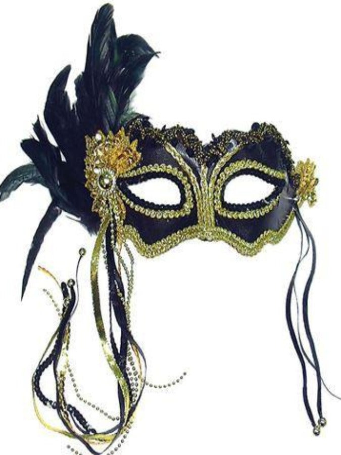 Black Metallic and side feather masquerade mask em323