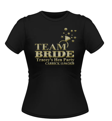 'Team Bride with Ring' Personalised Hen Party T-shirt