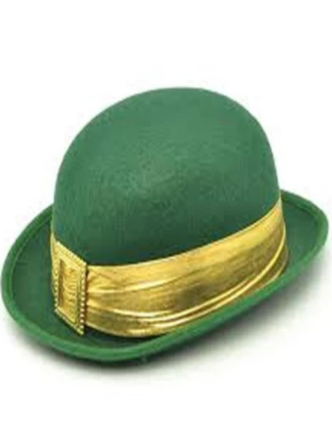 Bowler Green With Gold Band and Buckle