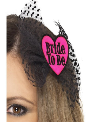 Bride to be hair bow with netting