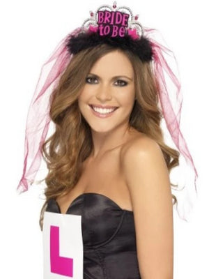 Hen Night Bride To Be Tiara with Veil, Black, with Pink Lettering