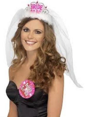 Hen Night Bride to Be Tiara with Veil, White, with Pink Lettering