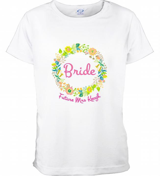 'Bride' Floral Design Personalised TShirt