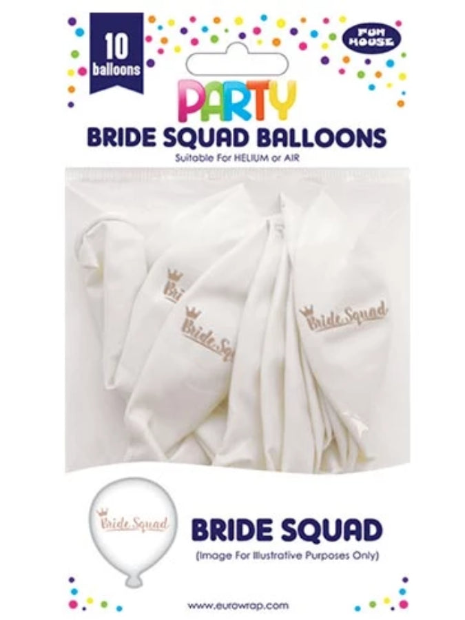 10 Pack Bride Squad balloons