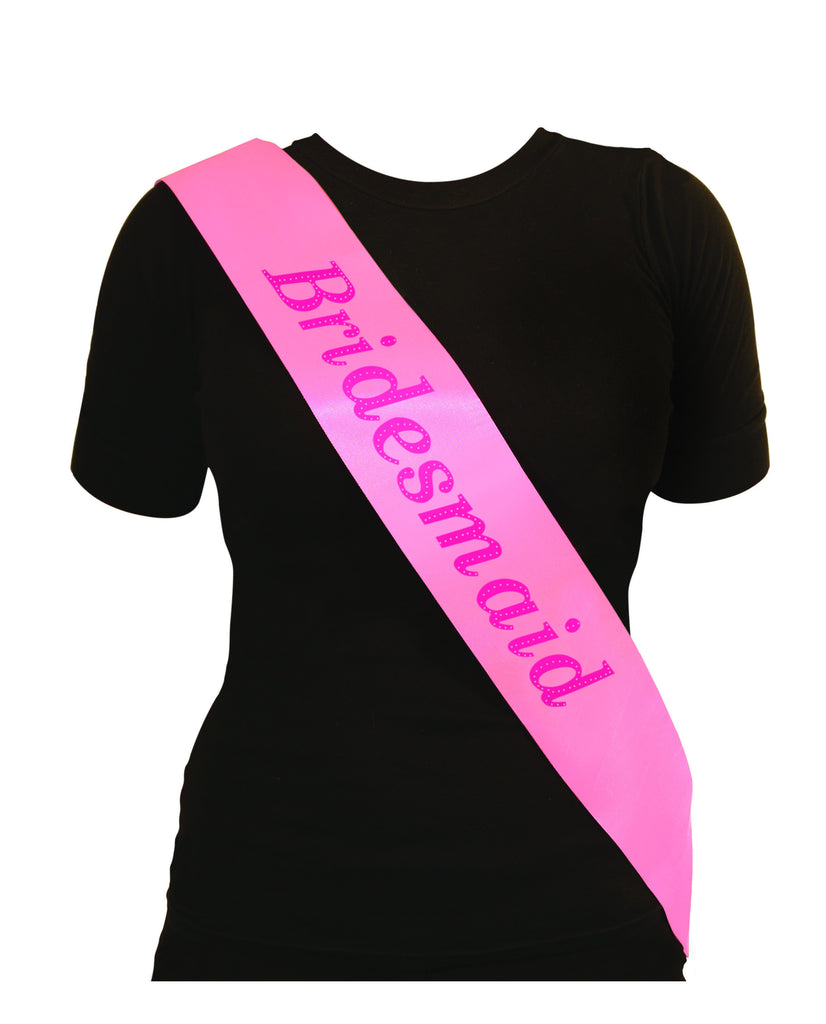 Pink Sash with text Bridesmaid