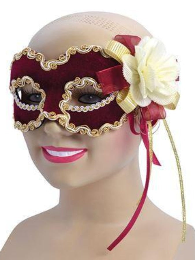 Burgundy Velvet with Flower Masquerade mask em720