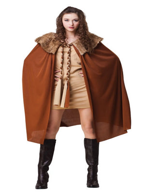 Cape Ladies Short Brown with Plush Collar