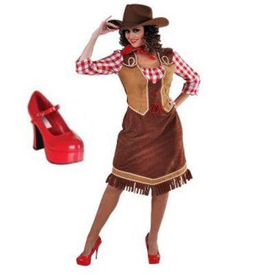 Cowgirl with shirt costume hire