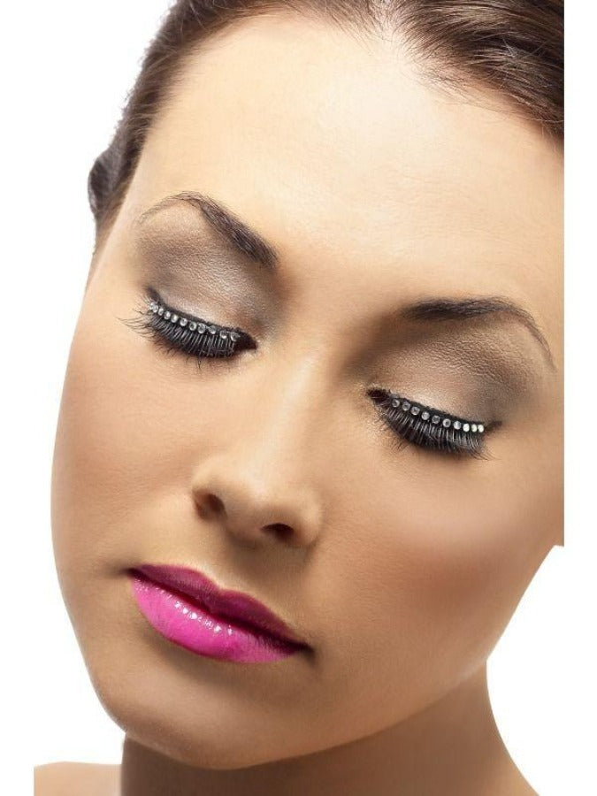 black with Diamante Eyelashes