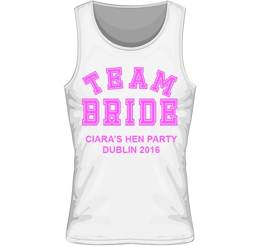 'TEAM BRIDE' Personalised Hen Party Vest