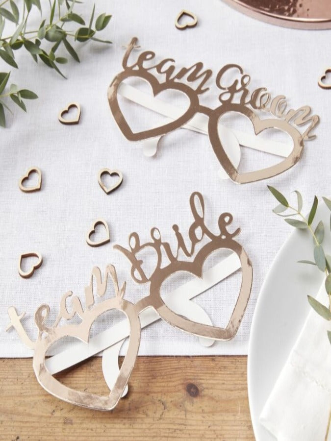 Rose Gold Foiled Team Bride Team Groom Fun glasses - Beautiful Botanics