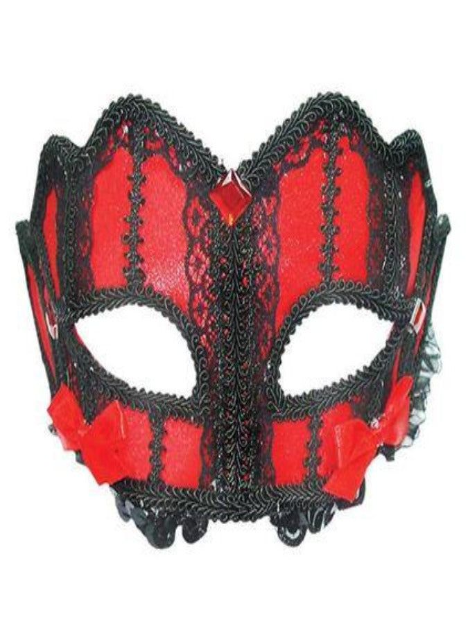 Red And Black Lace On Headband masquerade mask em330