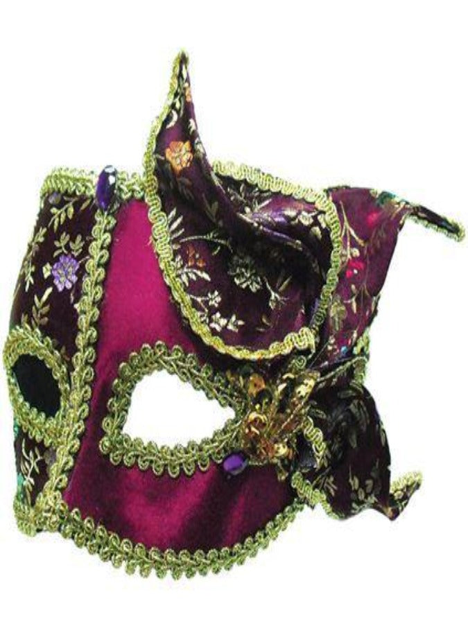 Burgundy/Gold with Side Feather masquerade mask