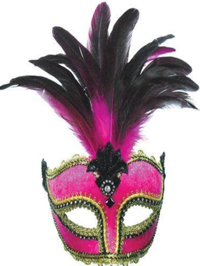 Pink Velvet/Tall Feathers masquerade mask em391