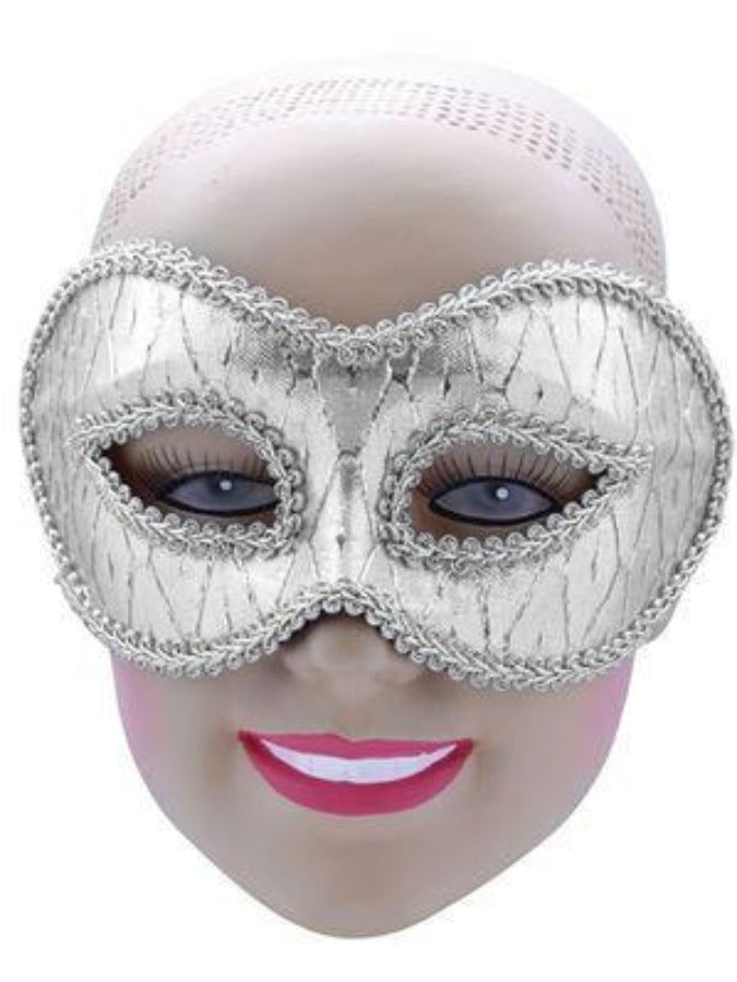 EM717 Silver Patterned Glasses Style masquerade mask