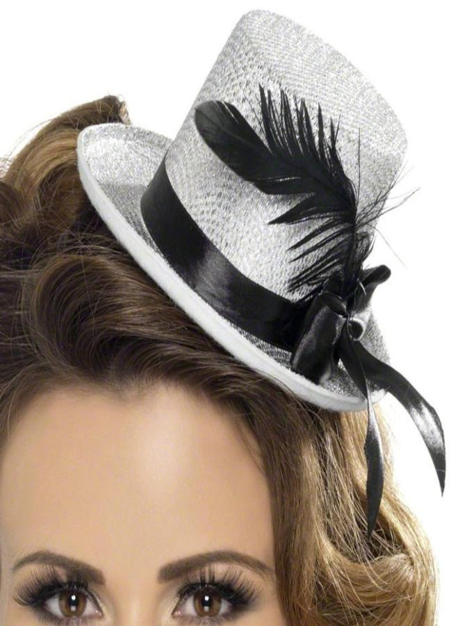 Burlesque Silver Mini Top Hat