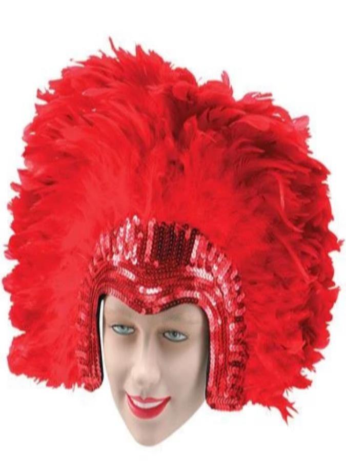 Feather Headdress Deluxe Red