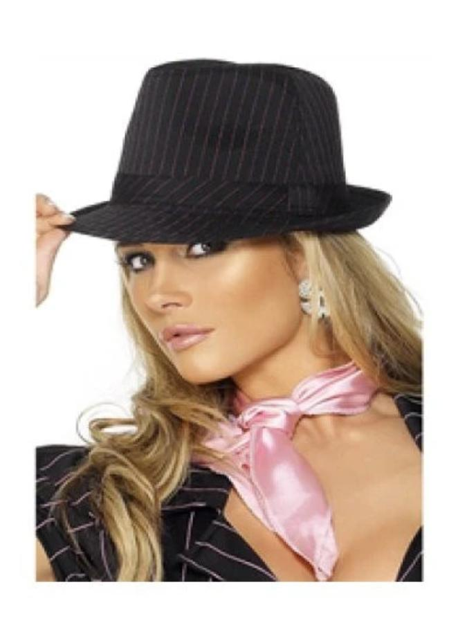 Fever Gangster Trilby Hat, Black, Pink Stripes